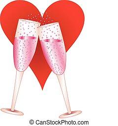 champagne, liefde, bril