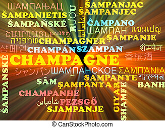 Champagne multilanguage wordcloud background concept glowing