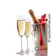 champagne, nastro, rosso, regalo, occhiali