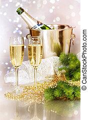 Champagne. New Year Celebration
