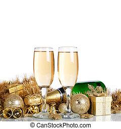 champagne, noël ornements