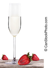 champagne  on a table with strawberry