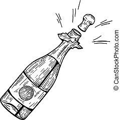 champagne, ontploffing, fles