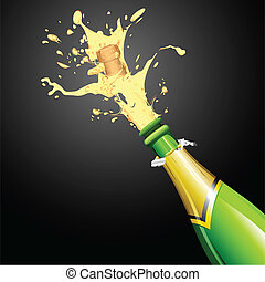 champagne, ontploffing, fles, kurk