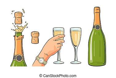 champagne, ontploffing, hand, glas., fles, houden