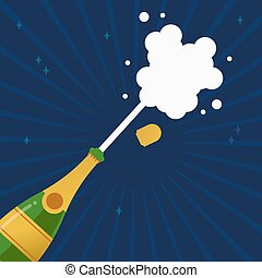 Champagne party bottle splash explosion card