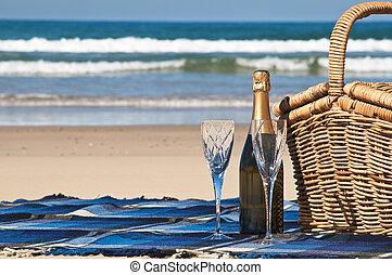 Champagne Picnic. - Picnic blanket,champagne,picnic basket...
