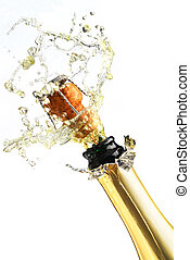 Champagne - Extreme close-up of explosion of champagne...