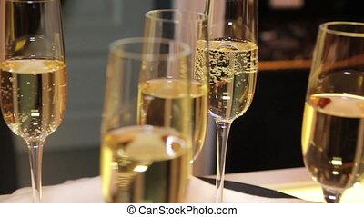 champagne, plateau, lunettes