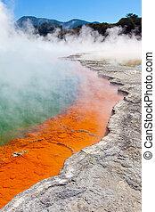 geothermal area - champagne pool at wai-o-tapu geothermal...