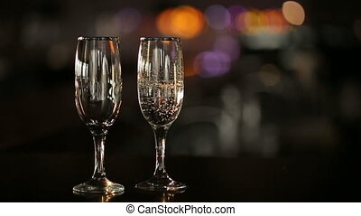 Champagne Pours in a Wineglass