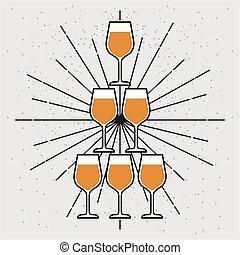 champagne, pyramide, événement, lunettes, célébration