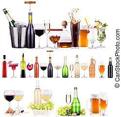 champagne, red and white wine,beer,cola,juice