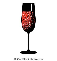 champagne red black glass
