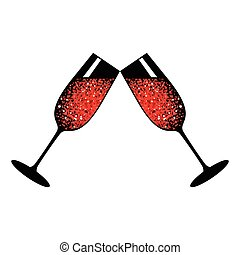 champagne red glasses