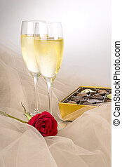 Champagne, Red Rose and Chocolates