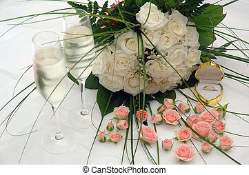 champagne, roses and ring