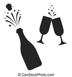 champagne, set, bottiglia, occhiali