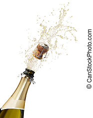 champagne splashing - bottle of champagne popping its cork...