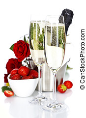 Champagne - Romantic still life with champagne, strawberry...