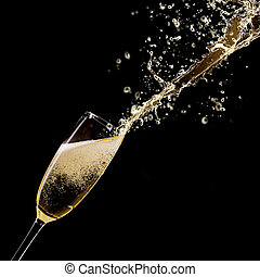 Champagne - Glass of champagne with splash, isolated on...