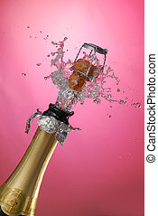 Champagne - Close-up of explosion of champagne bottle cork