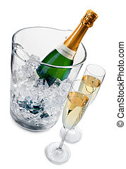 Champagne in a ice bucket and two champagne flutes