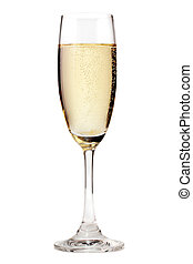 Champagne - A glass of champagne, isolated on a white...