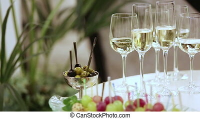 Champagne - Girl takes a glass of champagne