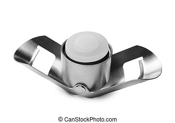 Champagne stopper on white background