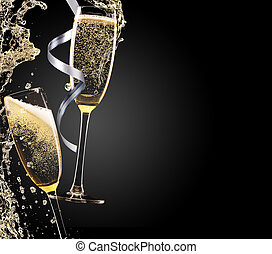 Champagne theme - Glass of champagne with splash, isolated...