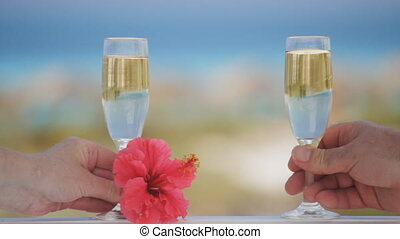 Champagne Toast - Man And Woman Celebrate With Champagne...