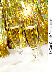 Champagne toast with golden background