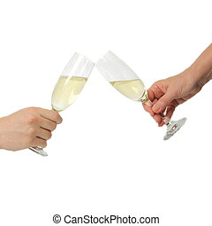 champagne toast - Pair of champagne flutes making a toast