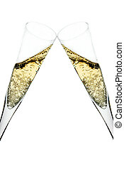 champagne toast - two champagne glasses raised in a toast