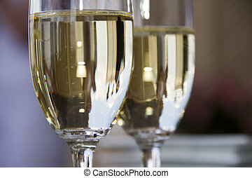 Champagne toast. Two glasses with champagne