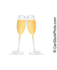 Champagne toast - Two champagne glasses during a toast