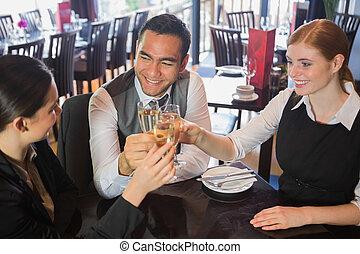 champagne, tostare, squadra affari