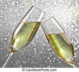 champagne tvärflöjt, på, silver, lätt, bokeh, bakgrund