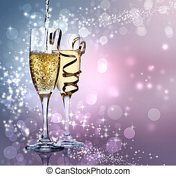 champagne, två, glasögon