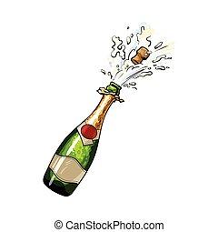 champagne, uit, het knallen, fles, kurk