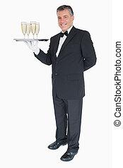 champagne, uppassare, bricka, stående