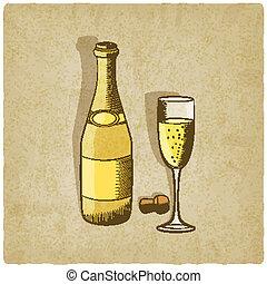 champagne, vecchio, fondo