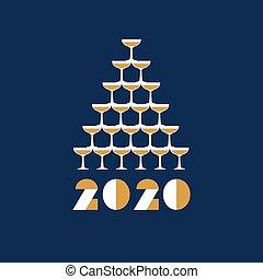 champagne, vector, plat, 2020, groet, tower., illustration., glas, card.