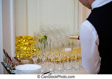 champagne versant, événement, lunettes, fête