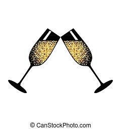 champagne white glasses