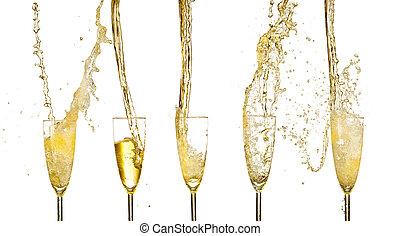 champagne, wijntje, verzameling, glasse