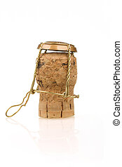 champagne wine bottle corks on the white background. Close...