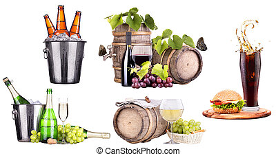 champagne, wine,beer,cola and food - champagne, wine, beer,...