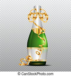 Champagne with gold curly ribbon on transparent background -...